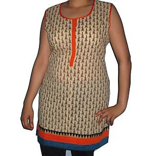 Best Quality Cotton Kurti With Rajasthani Print And Attractive Border