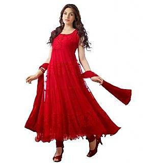 Nk Fashion Self Designer  Red Net Brachho Dress Material