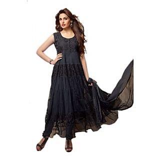 Nk Fashion Self Designer Black Net Brachho Dress Material