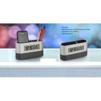 Oval Pen Holder With Digital Clock