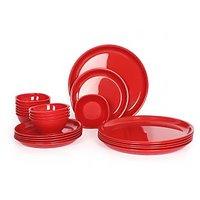 Gluman Microwave Safe Dinner Set - 24 Pcs Round Red