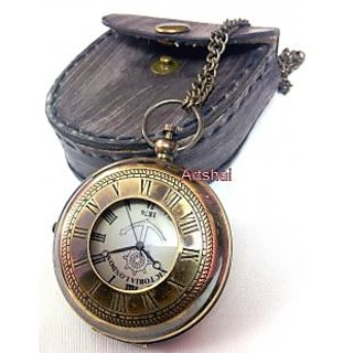 Artshai Victoria London Design Pocket Watch With Leather Case And Chain
