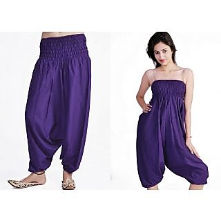 Indian Women's Girl's Purple Color Cotton Harem Pants Trouser