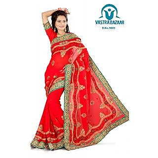 Vastrabazaar 9003b Red Embroidered Faux Georgette Saree With Blouse Piece