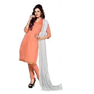 Exclusive Peach Chanderi Straight Salwar Suit