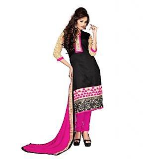 Sizzling Black Chanderi Straight Salwar Kameez
