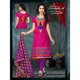 Women's Pink Silk Jacquard Dress Material