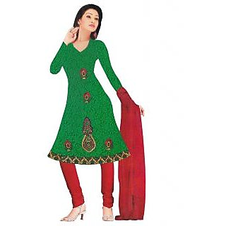Exclusive Designer Green Embroidered Dress Material