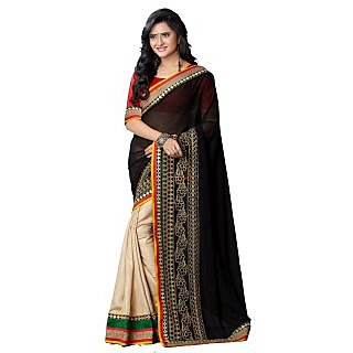 Tamanna Ronak Black  Georgette   Stylish Printed Saree. - 74975570