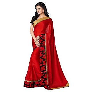Tamanna Ronak Red Satin/Chiffon  Stylish Printed Saree.
