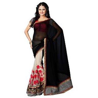 Tamanna Ronak Black  Georgette   Stylish Printed Saree.