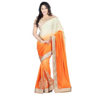 Step4deal Chinnon Shaded Paloo Orange With Baje Saree With Crepe Fabric 214