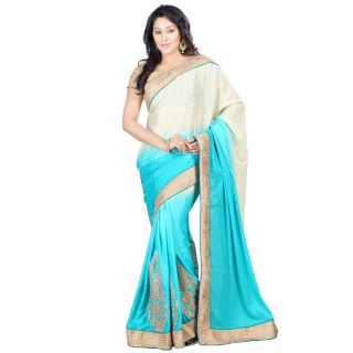 Step4deal Chinnon Shaded Paloo Sky Blue Saree With Crepe Fabric 214