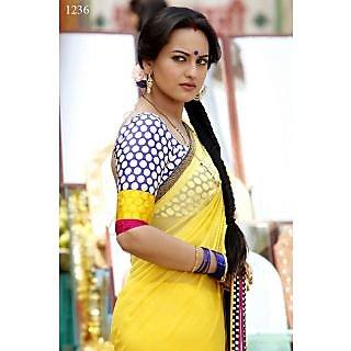 Sonakshi Sinha Yellow Dabang Saree With Crepe Jacquard Blouse