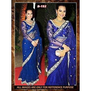 Csemart Beautiful Sonakshi Sinha Wearing Blue Lehenga Bollywood Saree