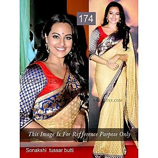 Indian Bollywood Replica Ethnic Sonakshi Tussar Butti Saree Sari