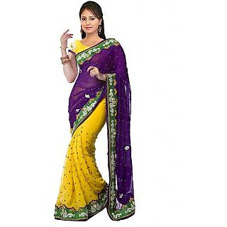 Nairiti Yellow & Purple Semi Chiffon Embroidered Saree
