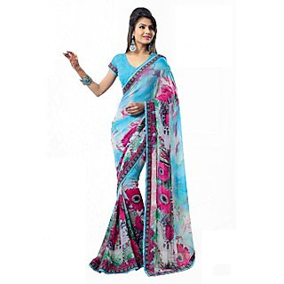 Apka Apna Fashion Navy Blue Color Printed Sarees