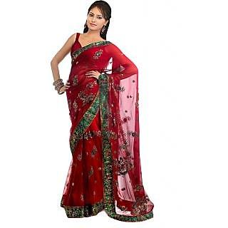 Nairiti Red Embroidered Net Fabric Saree