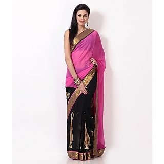 Nairiti Bollywood Replica Saree Mandira Bedi Pink & Black Saree