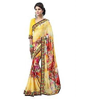 Apka Apna Fashion Yellow Color Printed Sarees