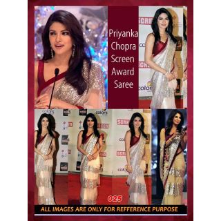 Bollywood Sarees: Priyanka Chopra Screen Awards Beige Replica Saree