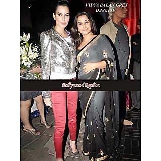 Vidya Balan Grey Beauty Bollywood Replica Saree