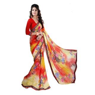 Apka Apna Fashion Orange Color Printed Sarees - 74983778