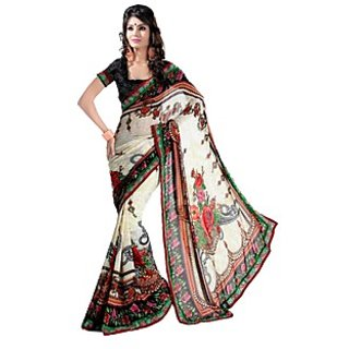 Apka Apna Fashion White Color  Printed Sarees