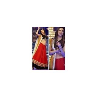 Richlady Fashion Deepika Padukone Georgette Red Lehnga Choli