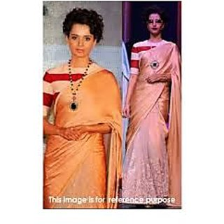 Richlady Fashion Kangana Ranaut Moss Thread Work Beige Saree