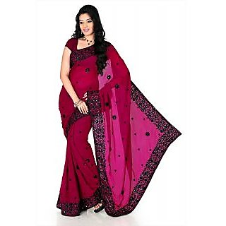 Dark Magenta Faux Georgette Saree