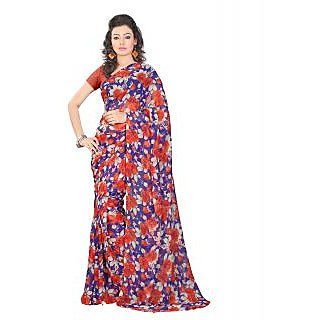 Lookslady Printed Blue & Orange Georgette Saree
