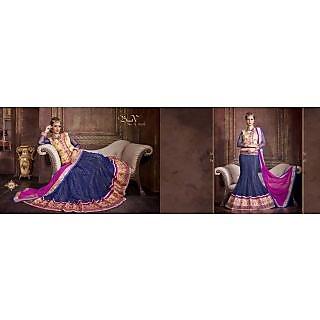 Blue-Pink-Beige Pure Bhagalpuri-Net Indian Embroidery Designer Lehenga-Choli