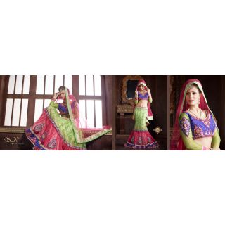 Green & Pink Pure Silkt-Net Indian Embroidery Designer Lehenga-Choli