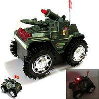 Tumbling Tank Tanker Car With Flash Light - Army Tank Toy Game