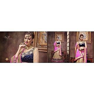 Beige Pure Velvet-Net Indian Embroidery Designer Lehenga-Choli