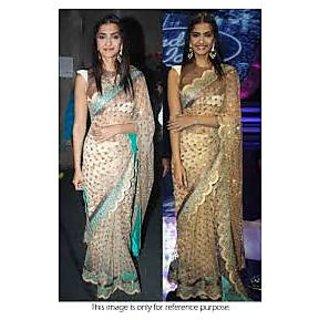 Richlady Fashion Sonam Kapoor Net Machine Work Beige Saree
