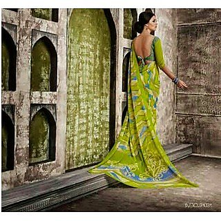 Zara Green With Blue-Yellow Print Chiffon Saree