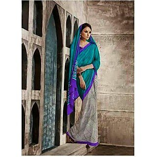 Zara Green - Grey With Purple Border Chiffon Saree