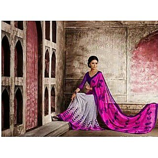 Zara Pink - Off White With Purple Border Chiffon Saree