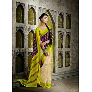 Zara Creame With Marron Printed Pallu With Yellow Green Border Chiffon Saree