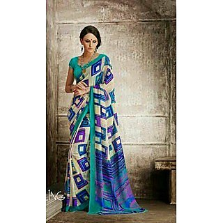 Zara Off White With Indigo Border & Purple Blue Print Chiffon Saree