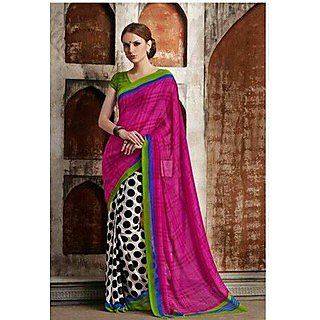 Zara White With Black Polka Dots And Pink Pallu, Blue-Green Border Chiffon Saree