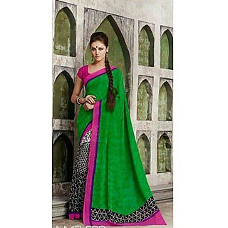 Zara Green Black Print, Pink-Purple Border Chiffon Saree