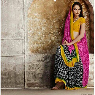 Zara Pink Black Print, Yellow-Green Border Chiffon Saree