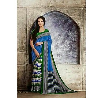 Zara Blue With Blue-Green Print On White, Green-Black Border Chiffon Saree