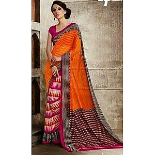 Zara Orange With Pink-Orange Print On White, Pink-Black Border Chiffon Saree