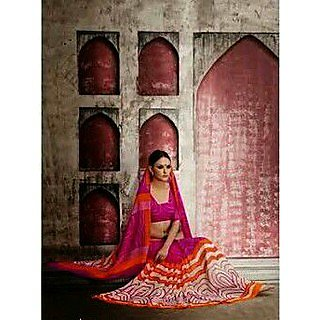 Zara Dark Pink With Pink-Orange Print On White, Orange Border Chiffon Saree