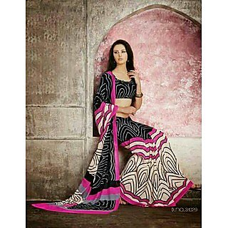 Zara Black And White, Pink Border Chiffon Saree